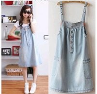 Wholesale Maternity Overalls Summer - 2017 Summer Casual style Denim overalls Dress for young Students Cute Girls Plus Size clothes Maternity Dress