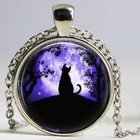 Wholesale Vintage Cat Black Chain - Alice In Wonderland Vintage black cat Moon glass pendant necklace personality Art picture necklace women men jewelry hot selling