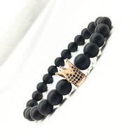Wholesale Set Bead Bracelets - 2017 Wholesale Handmade matte crown yoga Buddha Beads Natural Stone Volcanic Rock Bracelets for Men Women Jewelry