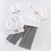 Wholesale Baby Costum - Infants baby chef embroidery 3pc set Chef's Hat+chef jacket+plaids loose pants cute baby role play cosplay costum photo props for 1-2T
