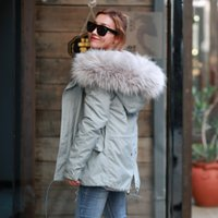 Wholesale Light Winter Coats For Women - 2016 New Arrival Winter Thick Parka for Women size XS-XL ALL Fake Fur Gray Coat with Light Pink Fur and Gray Fur Outcoat