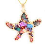 Wholesale Mixed Geometric Necklace - Starfish Pendant Mix Colors Crystal Stone Pendants Pendulum Necklace Chain Geometric Gold Plated Charms Fashion Jewelry For Women