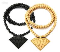 "Wholesale Wooden Ball Necklaces Wholesale - 10PCS Good Quality Hip Hop Wood DIAMOND PENDANT NECKLACE w  36"" Wooden BALL CHAIN"