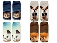 Wholesale Wholesale Dog Socks - DHL Multi-style cute animal Socks 3D printing Ankle socks cartoon Animal lovely dog cat print Hip Hop Socks