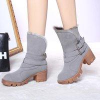 Wholesale Ladies Shoes Short Heel - 2016 new winter Short women boots plush warm lady shoe plus size 35 to 39 easy wear zipper up girl white colour flower snow boots
