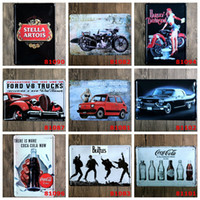 Wholesale Cast Iron Decorations - Motorcycle Car Beer Tin Poster Retro 20*30cm Metal Tin Sign Stella Artois Beatles Coca Cola Iron Paintings Creative Home Wall Decorate 4rjA