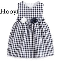 Wholesale Baby Grid Dress - Hooyi Grid Baby Girls Dresses Fashion Children Dress Girl Jumpers Flower Baby Girl Clothes Outfits Princess Infantil Vestidos