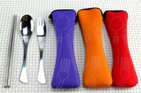 Wholesale Zipper Tableware - Stainless Steel Cutlery Fishtail Spoon Chopsticks Bone Zipper Bag Portable Tableware 3pcs Set Chopsticks Set 1 Chopsticks, 1 Fork, 1 Spoon