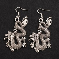 Wholesale Chinese Earrings Wholesale - Chinese Drgaon Earrings 925 Silver Fish Ear Hook 20pairs lot Antique Silver Chandelier E685 6.5x29.5mm