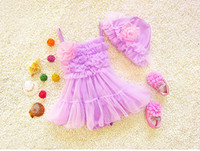 Wholesale Kids Pink Tutu Bikini - 2017 new summer baby girls swimming sets hats+dresses clothing suits for swimming toddler girl swim dress tutu puff skirt kids