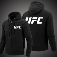 Wholesale Hoody Custom - High Quality Men's UFC Personalized Zipper Cardigan Hoodie Casual Felpe Print Outerwear Male Brand Clothing Fleece Custom Hoody
