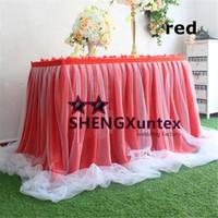 ingrosso panno di seta rosso-Gonna da tavolo in seta di ghiaccio \ Tovaglia da sposa battiscopa con decorazione in tessuto filato - Colore rosso