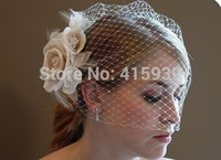 Wholesale Birdcage Flower - 2018 Free Shipping High Quality Handmade Flowers Feather Birdcage Bridal Fascinator Hats Wedding Veil Bridal Veil Dress Gown