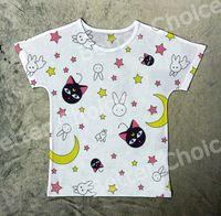 Wholesale T Shirt Women Sailor - Track Ship+New Printed Retro Vintage T-shirt Top Tee Sailor Moon Cute Black Cat Luna Rabbit Star 1338
