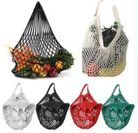 Wholesale Vegetable Mesh - Foldable Shopping Bag Multifuction Fruits Vegetable String Cotton Mesh Pouch For Sundries Juice Storage Bags 9 Colors DHL Free Shiipping