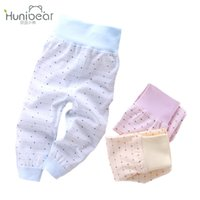 Wholesale Toddler Girls High Waist Pants - Newborn Pants 2017 Elastic High Waist Baby Boy Leggings Cotton Trousers casual toddler baby girl bottoms pants Infant 6-18 month