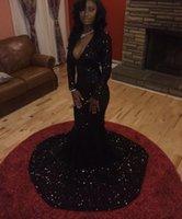 Wholesale Long Black Sequin Dresses - Sexy Black Sequins Mermaid Evening Dresses Trumpet Deep V Neck Long Sleeve Prom Gowns Court Train Formal Party Dress 2017