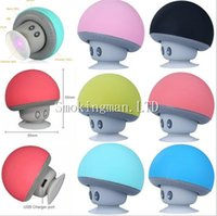 Wholesale Portable Mini Speakers Apple - DHL Mushroom Mini Wireless Bluetooth Speaker Hands Free Sucker Cup Audio Receiver Mp3 Music Player Stereo Subwoofer USB For Android IOS PC