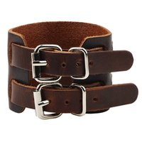 wide adjustable belt 2018 - Outstanding Vintage Brown Black Wide Belt Style Genuine Leather Bracelet Cuff Bangle Cool Punk Rock Tribe Adjustable Wristband Men Bracelet