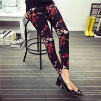Wholesale Porcelain Ladies Flowers - Wholesale- 2016 Lady printed flower Leggings fashion Plum porcelain leggings girl summer slim pant hot skinny floral pant