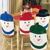 Wholesale Table Linens Chair Covers - Snowman Family Chair Back Covers Christmas Decoration Chair Xmas Cap Santa Dinner Table Home Party Decorative ZA4898