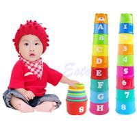 Wholesale Plastic Block Letters - Wholesale- 9Pcs set Excellent Baby Children Kids Educational Toy New Building Block Figures Letters Folding Cup Pagoda Gift Color Random