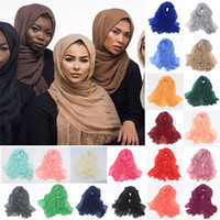 Wholesale Long Scarf Wrap - Women Maxi Hijabs Shawls Oversize Islamic Head Wraps Soft Long Muslim Frayed Crepe Premium Cotton Plain Hijab Scarf 20 pcs YYA348