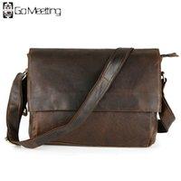 Wholesale Men Cross Section Messenger Bag - Wholesale- 2016 Vintage Style Genuine Leather Men's Shoulder Bags Cowhide Men Retro Casual Cross Section Crossbody Messenger Bags MD16