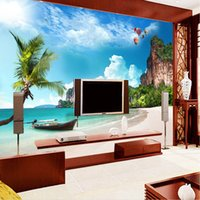 Wholesale Wallpapers Trees - Custom photo wallpaper large mural wall stickers beach beach coconut trees blue sky white clouds island landscape