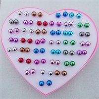 36pairs / lot Mix Colors 8mm CCB Balls Stud Earrings para mulheres Children Girls Jewelry With Heart Box