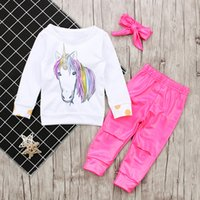 Wholesale Baby S Outfits Sets - Unicorn Cartoon Baby Outfits Sets For Girls Long Sleeve Tops Shirts + Pants + Bowknot Headband 3piece Set Suits Girl Casual Sets A7689