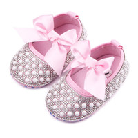 Wholesale Wholesale Crystal Baby Shoes - Wholesale- tongyouyuan Crystal Girl Princess Shoes Handmade Bling Beads First Walker Baby Girl Shoes