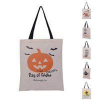 Wholesale Personalized Gifts Children - New Halloween Sacks Bag Canvas Personalized Children Candy Gifts Bag Pumpkin Spider treat or trick Drawstring Bags