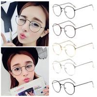 copos harajuku venda por atacado-Atacado-Moda Vintage Mulheres Eye Glasses Frames Simples Espelho Literário Harajuku big Metal óculos de armação oval Oculos Feminino Masculino
