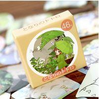 kawaii yazılan yer imleri toptan satış-Toptan-46pcs / pack Kawaii Totoro Günlüğü Etiket Çıkartma Suluboya Sticker Dekoratif Günlüğü Sticker Yapıştırıcı Paketleri
