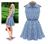 Wholesale Denim Floral - 2017 Summer new brand Denim Dress Floral Blue Short Mini Dress Cute Women Jeans Turn-Down Collar lapel neck Brand Dresses