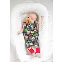 Wholesale Super Man Rompers - 2017 Ins Hot Selling Baby Boy Girl Summer Rompers Infant European Style Cartoon Super Man Printed Suepender Rompers