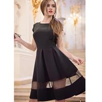 Wholesale Drape Puff - Olivia Palermo Elegant Black Dresses Jacquard Long Sleeve Vintage Hoppen Style O neck Ball Gowns Slim net yarn Midi Casual Dresses for Work