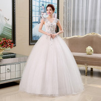 Wholesale Dress Sexy Korean Style - Wedding Dresses 2017 New Fashion Princess Korean Style Floor-length Sexy V-neck Luxury Crystal Bling Bling Glitter Bridal Dress F