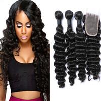 Wholesale Cheap Deep Curl Closure - Deep Wave,Deep Curly Wave Hair,Brazilian Natural hair Bundles Cheap Hair Weave deep Curl with top lace closure 4bundle lot free shipping