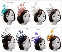 Wholesale Fascinator Gold - 8 Colors , 2017 Cheap Wedding Ladies Hat Headpieces, Wedding Bridal Hats , Fascinator Hats,Kentucky Derby Hats For Wedding Party