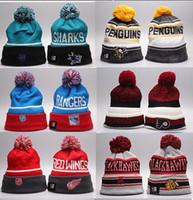 golf köpekbalığı toptan satış-Kış Beanie Şapka Erkekler için Örme NHL Yün Şapka San Jose Sharks ile Gorro Bonnet Beanie Boston Bruins Pittsburgh Penguenler Kış Sıcak Kap