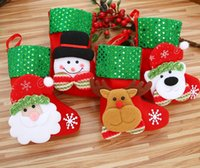Wholesale Christmas Decorations Stocking Santa Claus Deer Snowman Socks  High Quality Can Hang Christmas Stocking Santa Tree Decoration Price