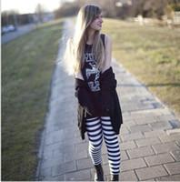 ingrosso collant donna-Skinny Leggings Fashion Classic strisce bianche e nere abbigliamento donna Sexy Legging Patterned Girl Zebra Strip Leggings Tights Pantaloni spaziali
