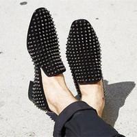 Wholesale Studs Spikes Dress - LTTL Brand Shoes 2017 Custom made Dandelion Spikes Flat Black Patent Leather Men Shoes Full Stud Rivets Male Loafers Runway Prom Footwear