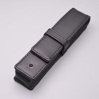 bolsitas para lapices al por mayor-Pluma 1pc regalo de alta calidad de cuero Negro caja de lápiz de los efectos de escritorio del bolso para que una pluma M estrenar bolsa