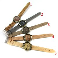 Wholesale Wood Wrist Watch Mens - 2017 Simulated Wood Grain Watch mens womens Luxury four Numbers watches High-grade Quartz Imitation wood wooden wrist Watches students gifts