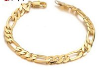 Wholesale Men K Gold Bracelets - 18 k gold jewelry Personality man cool bracelet long lasting color preserving allergy