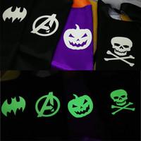 Wholesale kids pumpkin costumes - Halloween Double side L70*70cm kids Superhero Cosplay Capes Pumpkin cloak kids Luminous Halloween Carnival Luminous costume