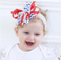 Wholesale Knit Turban Twist Headband - 4th of July Headband Independence Day Flower Bow Hairband American Flag Flower Knitted Headwear Twist Turban for Kids Boys Girls 637
